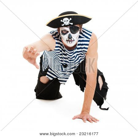portrait of cruel pirate. isolated on white background