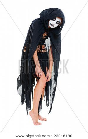 portrait of cruel witch. isolated on white background