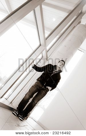 Young Man Standing Alone