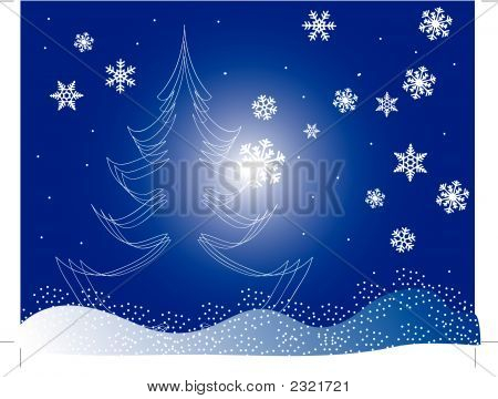 Christmas Tree On A Blue Background With Snowfakes