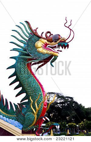 Colorful Dragon Statue In Temple