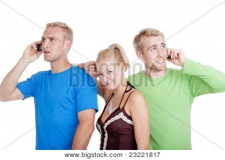 Two Men Talking, Young Woman Bored