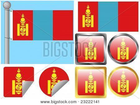 Flag Set Mongolia