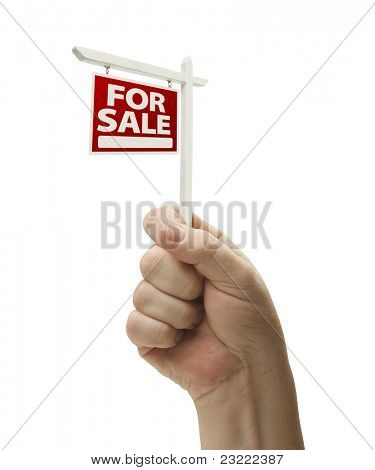 For Sale Real Estate Sign In Male Fist Isolated On a White Background.
