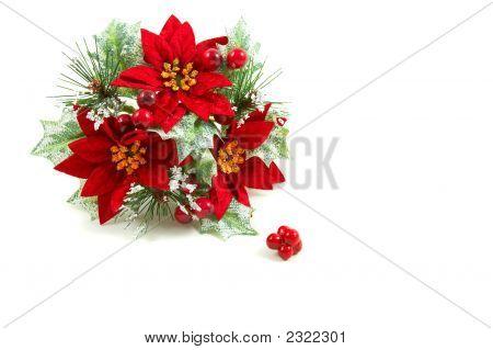 Christmas Wreath, Poinsetta Flowers