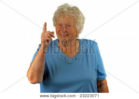 Senior Woman With Forefinger Up, On White Background