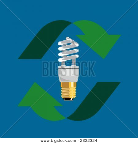Compact Fluorescent Light Bulb With Arrows