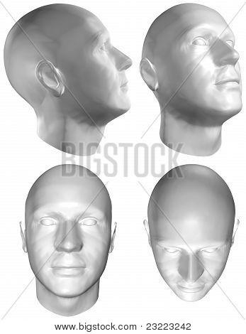 Human Head 3D Render