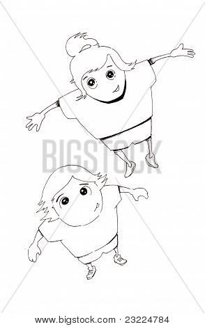 Hand Drawn Joyful Boy And Girl