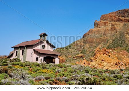 A view of the Shrine of Virgen de Las Nieves in Teide National Park, Canary Islands, Spain