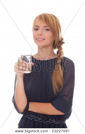 Smiling Teenager Holding Glass Cold Water