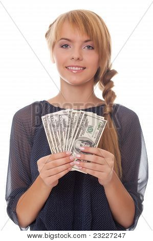 Bright Picture Smiling Teenager With Money