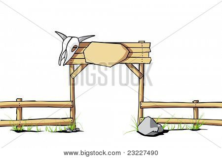 Western vector background (wooden fence with a cow skull on the gate)