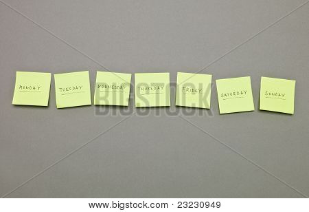 Adhesive Notes With The Weekdays