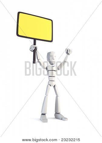 Greve do trabalhador segurando o cartaz, renderização em 3d