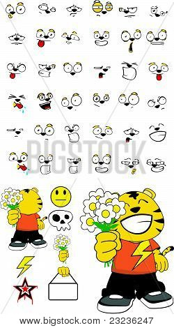 tiger kid cartoon set
