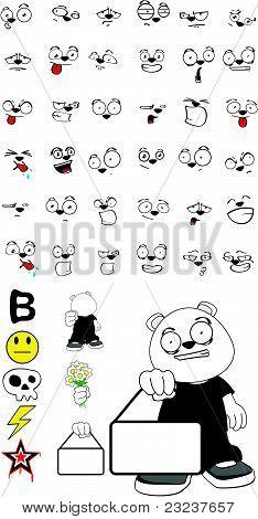 polar bear kid cartoon set