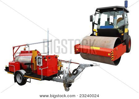 Road Roller And Traffic Lane Markings Machine