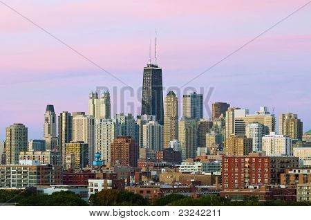Colorful Chicago skyline at twilight.