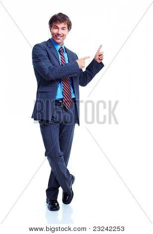 Lächelnd Geschäftsmann. Isolated over white background