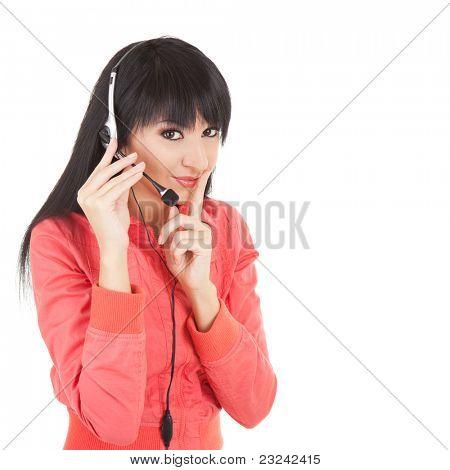 Business woman-operator in earphones