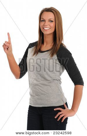 Portrait of beautiful young woman pointing or signaling number one isolated over white background