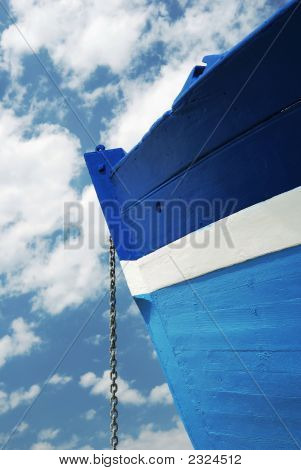 Chain Of A White And Blue Wooden Boat