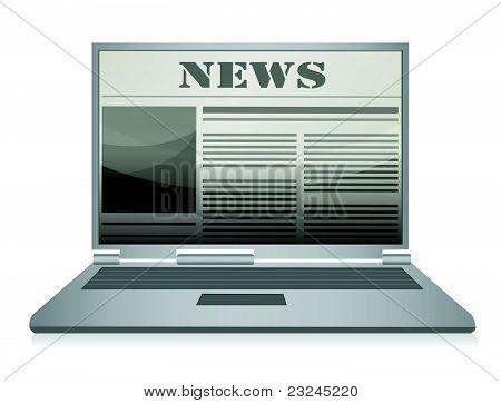 Online Zeitung. Laptop und Nachrichten-Website.