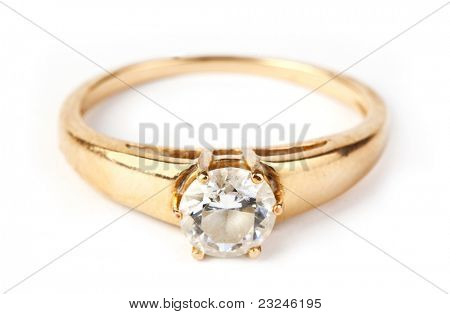 One old gold rind with diamant on white background. Diamant in focus