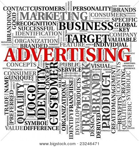 Advertising and brand related words in word tag cloud