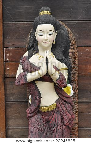 Stone Carve Woman Respect Asia
