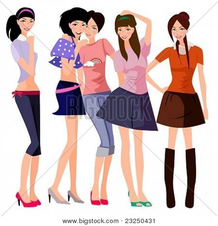illustration of five fashion girl