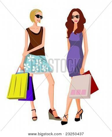 two woman on a shopping day