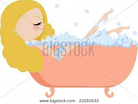 Illustration of a woman bathing in a vintage bathtub