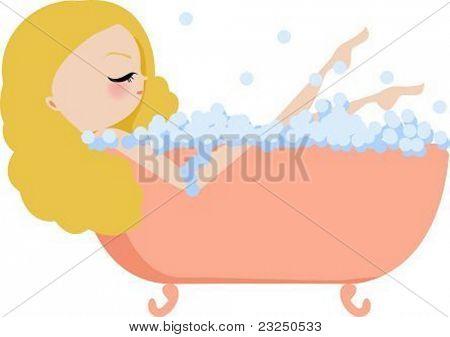 Illustration of a woman bathing in a vintage bathtub