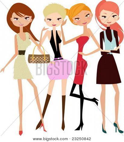 illustration of four fashion girls