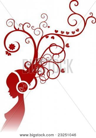 Vector illustration, girl listening to music