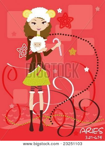 Happy Aries isolated . Zodiac star sign.
