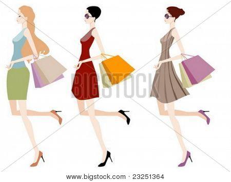 Three beautiful girls on a shopping