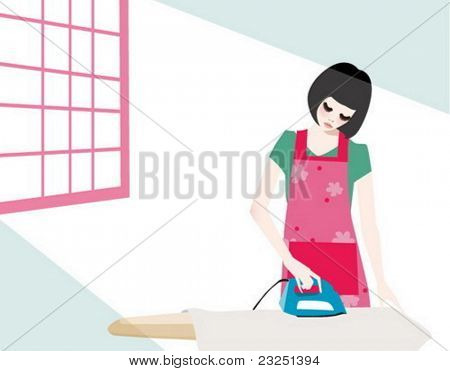 girl ironing