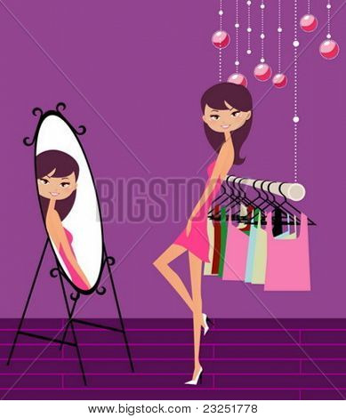 Beautiful girl looking into the mirror, vector illustration