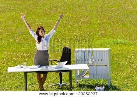 Businesswoman Sunny Meadow Nature Office Hands-up