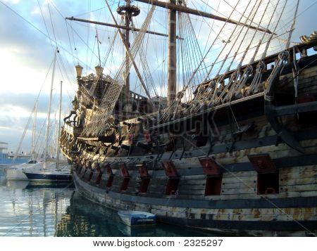 The Old Ship At A Mooring.
