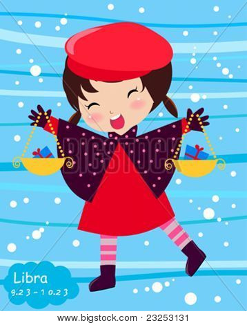 Zodiac-illustration of a girl-libra