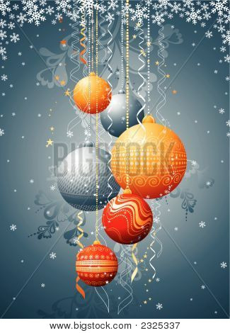 Silver Christmas Card With  Ball, Vector