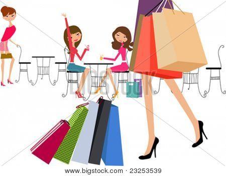 Shopping girls in coffee break