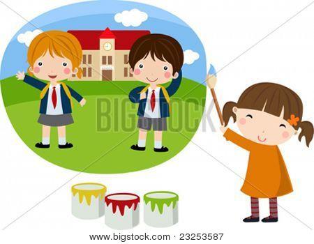 Cute little painter-girl