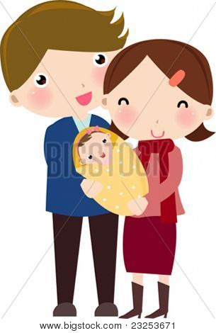happy family with daughter
