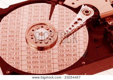 A computer hard drive. Bookkeeping