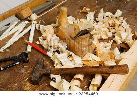 Plane in a carpentry workshop
